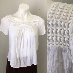 4/$20 White Short Sleeve Sheer Seer Sucker Top
